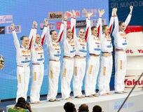 Het gesynchroniseerde zwemmen - Rusland Royalty-vrije Stock Foto's