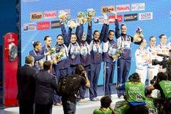 Het gesynchroniseerde zwemmen - Spanje Stock Afbeeldingen