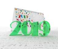 Het getal 2019 tegen de achtergrond van de kalender en de cijfers zijn twee, nul, één, negen 3D Illustratie Stock Afbeeldingen