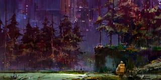 Het getrokken cyberpunk landschap van de fantasienacht met een reiziger in het bos stock illustratie