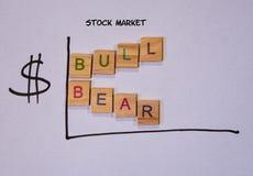Het getrokken grafiek tonen dragen en de markttendensen van de stierenvoorraad stock afbeeldingen