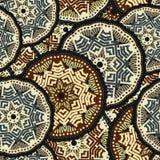 Het getrokken naadloze patroon van Mandalaboho hand Vector illustratie Stock Foto