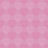 Het getrokken patroon De gelukkige kaart van de valentijnskaartendag Stock Illustratie