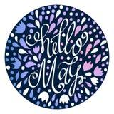Het getrokken van letters voorzien van Hello Mei hand met abstracte bloemenelementen Royalty-vrije Stock Foto's