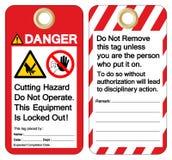 Het gevaar Cutting Hazard Do Not Operate Dit Materiaal is Gesloten uit Symboolteken, Vectorillustratie, isoleert op Witte Achterg royalty-vrije illustratie