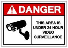 Het gevaar Dit Gebied is onder Uur 24 het Videoteken van het Toezichtsymbool, Vectorillustratie, op Wit Etiket Als achtergrond is vector illustratie