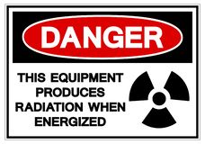 Het gevaar Dit materiaal veroorzaakt straling wanneer het geactiveerde Symboolteken, Vectorillustratie, op Wit Etiket Als achterg stock illustratie