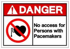 Het gevaar Geen Toegang voor Personen met het Teken van het Hartstimulatorsymbool, Vectorillustratie, isoleert op Wit Etiket Als  stock illustratie