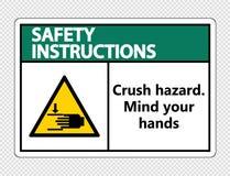 het gevaar van de de instructiesverbrijzeling van de symboolveiligheid Let op uw handenteken op transparante achtergrond vector illustratie