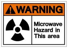 Het Gevaar van de waarschuwingsmicrogolf in Dit Teken van het Gebiedssymbool, Vectorillustratie, isoleert op Wit Etiket Als achte vector illustratie