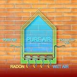 Het gevaar van radongas in onze huizen - conceptenillustratie royalty-vrije stock foto's