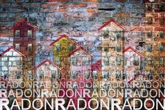 Het gevaar van radongas in onze huizen - conceptenillustratie royalty-vrije illustratie