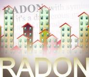 Het gevaar van radongas in onze huizen - de parterres van de gebouwen is het meest blootgesteld aan radongas - conceptenillustrat royalty-vrije illustratie