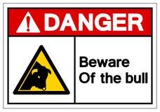Het gevaar voorzichtig zijn van het Teken van het Stierensymbool, Vectorillustratie, isoleert op Wit Etiket Als achtergrond EPS10 vector illustratie