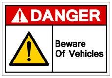 Het gevaar voorzichtig zijn van het Teken van het Voertuigensymbool, VectordieIllustratie, op Wit Etiket wordt geïsoleerd Als ac vector illustratie
