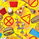 Het gevaarlijke Naadloze Patroon van het Snelle Voedsel Royalty-vrije Stock Foto