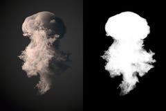 Het gevaarlijke wolk 3d teruggeven van zwarte rook na een explosie met alpha- kanaal Royalty-vrije Stock Foto's