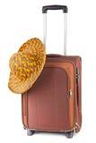 Het geval en de hoed van de reis Stock Foto's