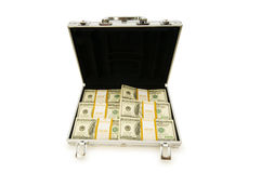 Het geval van het metaal en veel dollars Royalty-vrije Stock Fotografie