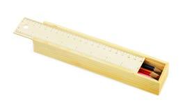 Het geval van het potlood met kleurenpotloden Stock Foto's