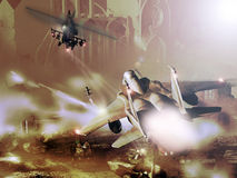 Het gevecht van de vechter en van de helikopter stock illustratie