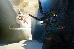 Het gevecht van de vechter en van het UFO vector illustratie