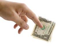 Het geven van één dollar Stock Foto's