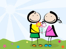 Het geven van bloemen Stock Foto