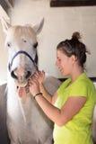 Het geven van een geneeskunde aan een witte merrie Royalty-vrije Stock Fotografie