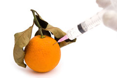 Het geven van een injectie aan een overrijpe sinaasappel Stock Afbeeldingen