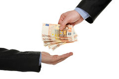 Het geven van geld Royalty-vrije Stock Foto