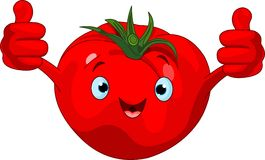 Het geven van het Karakter van de tomaat beduimelt omhoog Royalty-vrije Stock Foto