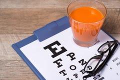 Het geven voor ooggezicht door gezonde te eten Concept Mening van hierboven stock foto