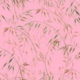 Het gevoelige botanische naadloze patroon van de waterverfhaver op pastelkleur roze achtergrond voor textiel, verpakking en behan vector illustratie