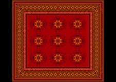 Het gevoelige patroon van het tapijt in rode schaduwen met oranje details Stock Afbeelding