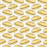 Het gevulde Naadloze Vectorpatroon van Broodbaguettes, Getrokken Hand stock illustratie