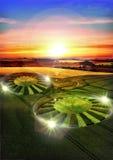 Het gewassencirkel van Ufo Stock Afbeeldingen