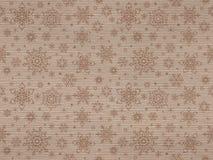 Het geweven naadloze patroon van geribbeld kraftpapier met Kerstmissneeuwvlokken Stock Foto