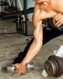 Het Gewichtheffen van de mensen` s Geschiktheid in de gymnastiek stock afbeeldingen