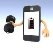 Het gewichtheffen van Smartphone Stock Fotografie