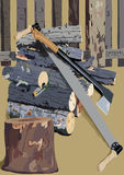 Het gezaagde brandhout bij een omheining Royalty-vrije Stock Afbeelding