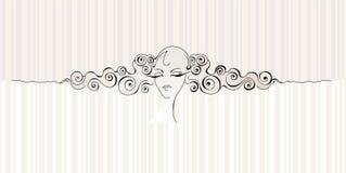 Het gezicht & het haar van het meisje `s royalty-vrije illustratie