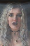 Het gezicht door de sluier Royalty-vrije Stock Fotografie