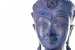 Het gezicht van Boedha tegen witte achtergrond Moderne purpere blauwe zenknop stock fotografie