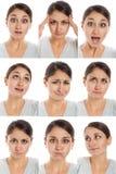 Het gezicht van de acteur, een compilatie van emoties Stock Fotografie