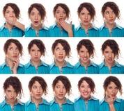 Het gezicht van de acteur, een compilatie van emoties Stock Foto's