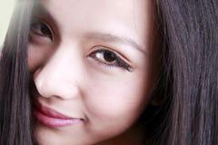 Het gezicht van de Aziatische vrouw Stock Afbeelding