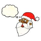 het gezicht van de beeldverhaal heel Kerstman met gedachte bel Royalty-vrije Stock Afbeelding