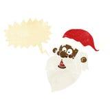 het gezicht van de beeldverhaal heel Kerstman met toespraakbel Royalty-vrije Stock Afbeeldingen