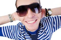 Het gezicht van de close-up met toothy glimlach Royalty-vrije Stock Afbeeldingen